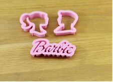 3 Pieces Barbie Fondant Cookie Gum Paste Cutter Plunger Embosser Set