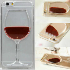 Slim 3D Moving Liquid Red Wine Glass Cocktail Bottle Hard Back Phone Case Cover