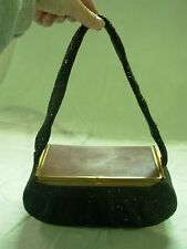 VINTAGE 1940'S BLACK MICRO GLASS BEADED BOX EVENING BAG WITH LUCITE TOP