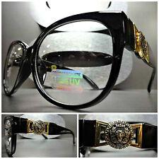Men Women CLASSIC VINTAGE RETRO Clear Lens EYE GLASSES Unique Black & Gold Frame