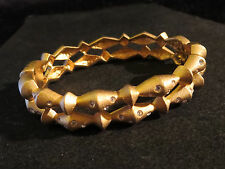 "Swarovski Signed 1/2"" Wide Open Work Hinged Clamper Bracelet Crystals Gold Tn"
