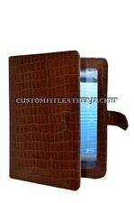 New iPad 2 3 & 4 Tan Croc Print Luxury Real Genuine Leather Cover Case Stand