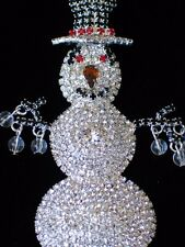 "PRONG RHINESTONE WINTER FROSTY SNOWMAN SNOWLADY PIN BROOCH JEWELRY DANGLE 3.5""LG"