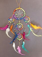 "NEW 5 Circle RAINBOW BEAD DREAM CATCHER 18"" LONG Feather Wall Decoration"