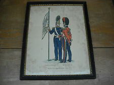 Original Antique State Volunteer Corps Soldiers, 1840 Print in Original Frame