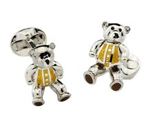 Deakin and Francis Silver & Yellow Enamel Teddy Bear Cufflinks