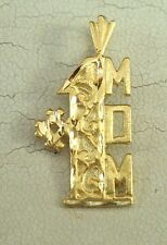 New Solid 14K Yellow Gold #1 Mom Charm Pendant