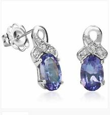 TANZANITE & DIAMOND EARRINGS SILVER. 0.87 CWT NATURAL WHITE GOLD LOOK  VALENTINE