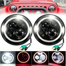2X 7'' 60W Hi-Lo Beam LED Headlight Red Halo Angle Eye For Jeep Wrangler JK/TJ