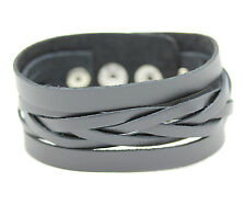 Leather Bracelet Black Stainless Steel Mens Wristband Genuine Braided Pattern