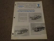 1978 PLYMOUTH FURY SPORT VS COMPETITION DEALER CONFIDENTIAL BUYERS GUIDE MANUAL