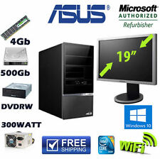 "Asus Desktop Computer 19"" TFT Windows 10 Pro Loaded 500GB 4GB Memory Wifi DVDRW"