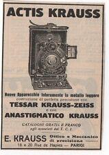 Pubblicità vintage 1914 ACTIS KRAUSS FOTO PHOTO ZEISS advert werbung publicitè