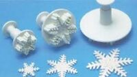3 x Snowflake Cake Decor Fondant Icing Sugarcraft Plunger Cutter Mold Kitchen