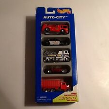 Hot Wheels Gift 5 Pack Auto City For Playset - Tow, Fire, Police, +2, From 1995!