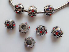 2pz  distanziali spacer beads + strass 11x9mm colore tibet,rosso