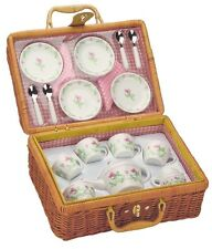 CHILDS PORCELAIN TEA SET WITH BASKET 21 PIECE DELUXE PLAY PICNIC FUN  PARTY GIFT