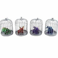 Set of 4 Mini Gothic Baby Dragons in Display Cages Gift Idea Ornamental