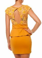 Sexy Miss faldillas barro peplum mini vestido punta dress out cut 34/36/38 Mustard nuevo