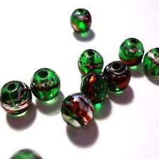 50 pieces 6mm Drawbench Glass Beads - Emerald Green - A3228