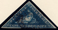 "Cape of Good Hope: Scott #13, Dark Blue ""HOPE"", Wmk 15, Blk. Ccl, 3 Margins, VF+"