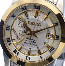NEW MEN'S SEIKO PREMIER KINETIC DIRECT DRIVE 2-TONE SAPPHIRE WATCH SRG010P1