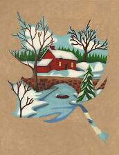 SUGAR MAPLE LEAF DESIGN SNOW WINTER RED LAKE HOUSE BOAT BARE TREES ART PAINTING