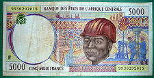 CENTRAL   AFRICAN STATES 5000 FRANCS NOTE FROM 1999,  LETTER F, P 303F f