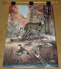 Fur Feathers & Fall ~ Autumn Deer & Geese Tapestry Wall Hanging