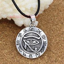 Egyptian Eye of Horus Ankh Ra Udjat Pendant Amulet Leather Chain Necklace