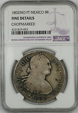 1802-MO FT Mexico 8 Reales Silver Coin NGC Fine Details Chopmarked