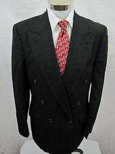 Burberry London Black Pin Stripe 100% Wool Double Breasted Blazer Mens 40R EUC