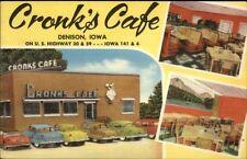 Denison IA Cronk's Caf' ROADSIDE LINEN Old Cars - Postcard