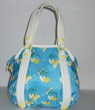 Juicy Couture Blue Nylon w/ Yellow Cherry Hearts Ivory Leather Purse Handbag Bag