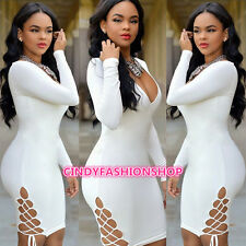New Women Vintage Bandage Long Sleeve Deep V Neck Club Body con Evening Dress