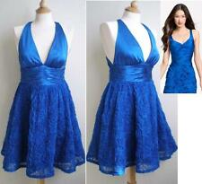 ADRIANNA PAPELL Rosette Halter Dress Royal Blue Cocktail Evening sz 8 NWT $170
