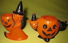 1950's 2 Rosen Halloween Witch and Pumpkin Plastic Candy Holders