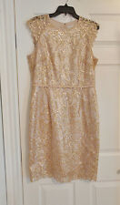 $200 Gold Champagne Sequin Formal Cocktail Wiggle Dress 12 Knee Adrianna Papell