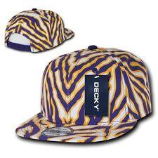 Purple & Gold Zebra Animal Print Vintage Snap back Classic Flat Bill Hat Cap