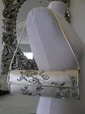 STUART WEITZMAN RUSSELL BROMLEY Gold Leather Embroidered Clutch Shoulder Bag M