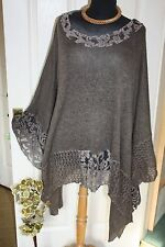 STUNNING PLUS SIZE LACE  MOHAIR PONCHO OVER SIZE WRAP JUMPER LOOK 22 24 26 28 30