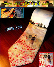SILK TIE CLAUDE MONET RED POPPIES FIELD ART IMPRESSIONISM FRANCE PAINTERS A