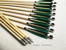 12PCS green Medieval wooden arrows for hunting longbow shooting practise