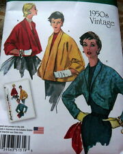 1950s VINTAGE JACKETS RETRO SEWING PATTERN 6-8-10-12-14 UC