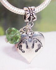 Twins Footprint Heart August Birthstone Dangle Bead for European Charm Bracelet