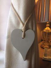 Par De Hecho a Mano Corazón Cortina amarre para Offset Gris Perla con corbata de cuerda de yute