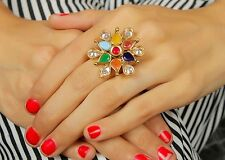 705 Indian Ethnic Traditional 18k Gold Tone Adjustable Ring Bollywood Jewellery