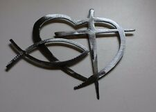 Heart & Cross and Fish Special   Silver HANGING METAL WALL ART DECOR