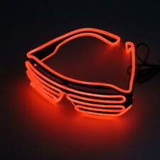 Hot Wire Neon LED Light Up Shutter Shaped Glasses for Costume Party Red+Blue  KE