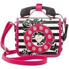 "NEW BETSEY JOHNSON Stripe Floral ""MUST HAVE MINI PHONE"" Crossbody Handbag SALE"